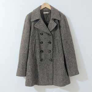J. Crew Tweed Double Breasted Brown Peacoat size M